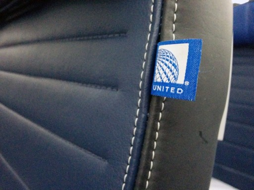 United Airlines Aircraft Fleet Boeing 787 9 Dreamliner Economy Class Cabin The tag with long live Continental globe was installed on each seat