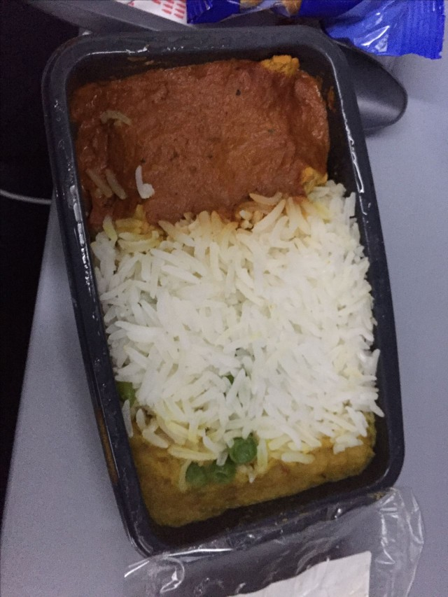 United Airlines Aircraft Fleet Boeing 787 9 Dreamliner Economy Plus Premium Eco Class Cabin Inflight Amenities Meals Food Services butter chicken white rice and some dal with bread and small salad