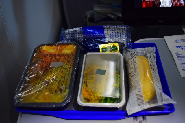 United Airlines Aircraft Fleet Boeing 787 9 Dreamliner Economy Plus Premium Eco Class Cabin meal services pasta duet with salad and rubber roll