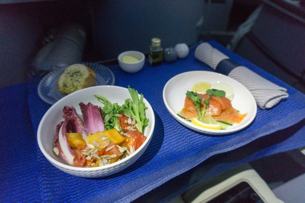 United Airlines Aircraft Fleet Boeing 787 9 Dreamliner Polaris Business Class Cabin food and beverages hapuka fish with risotto