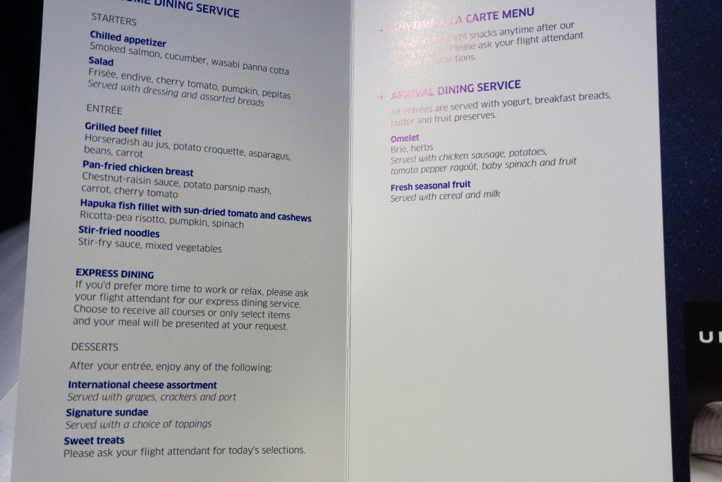 United Airlines Aircraft Fleet Boeing 787 9 Dreamliner Polaris Business Class Cabin food and beverages menu option