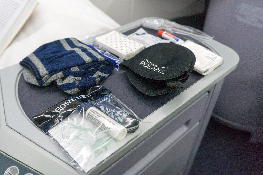 United Airlines Aircraft Fleet Boeing 787 9 Dreamliner Polaris Business Class Cabin inflight amenities Cowshed toiletries