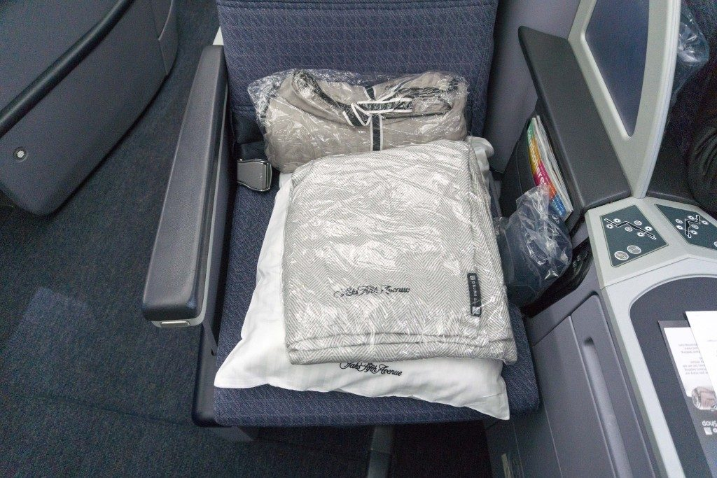 United Airlines Aircraft Fleet Boeing 787 9 Dreamliner Polaris Business Class Cabin seats were stocked with a mattress cover pillow blanket and amenity kit