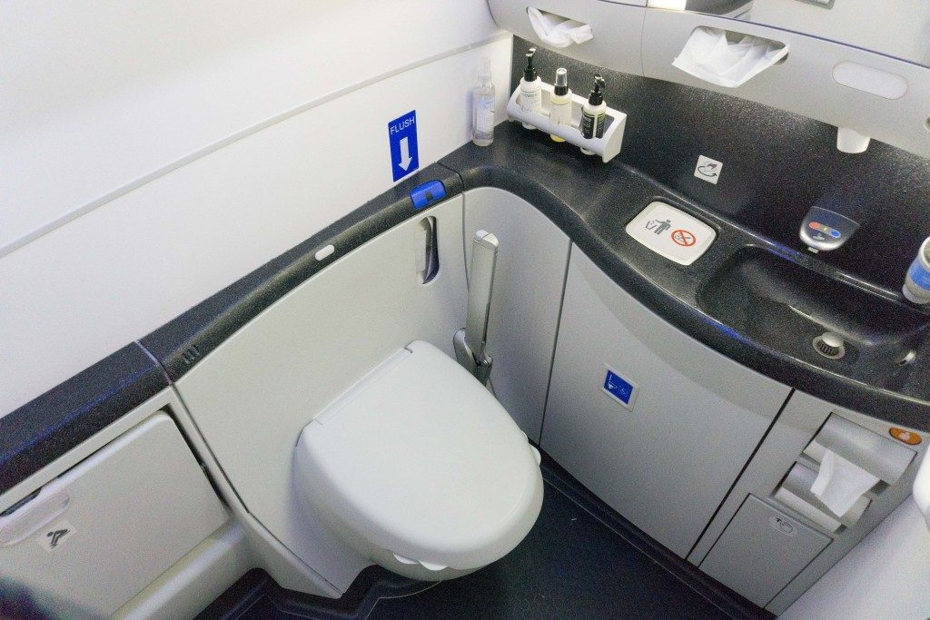 United Airlines Aircraft Fleet Boeing 787 9 Dreamliner Polaris Business Class Cabin toiletbathroomlavatory photos