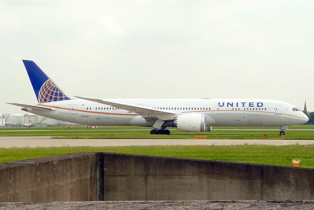 United Airlines Aircraft Fleet N27957 Boeing 787 9 Dreamliner cnserial number 36409334 taxiing on runway at London Heathrow Airport