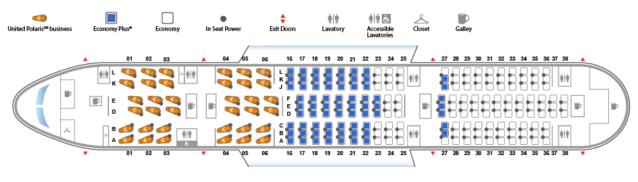 United Airlines Boeing 787 8 Dreamliner Seat map 3670113 configuration
