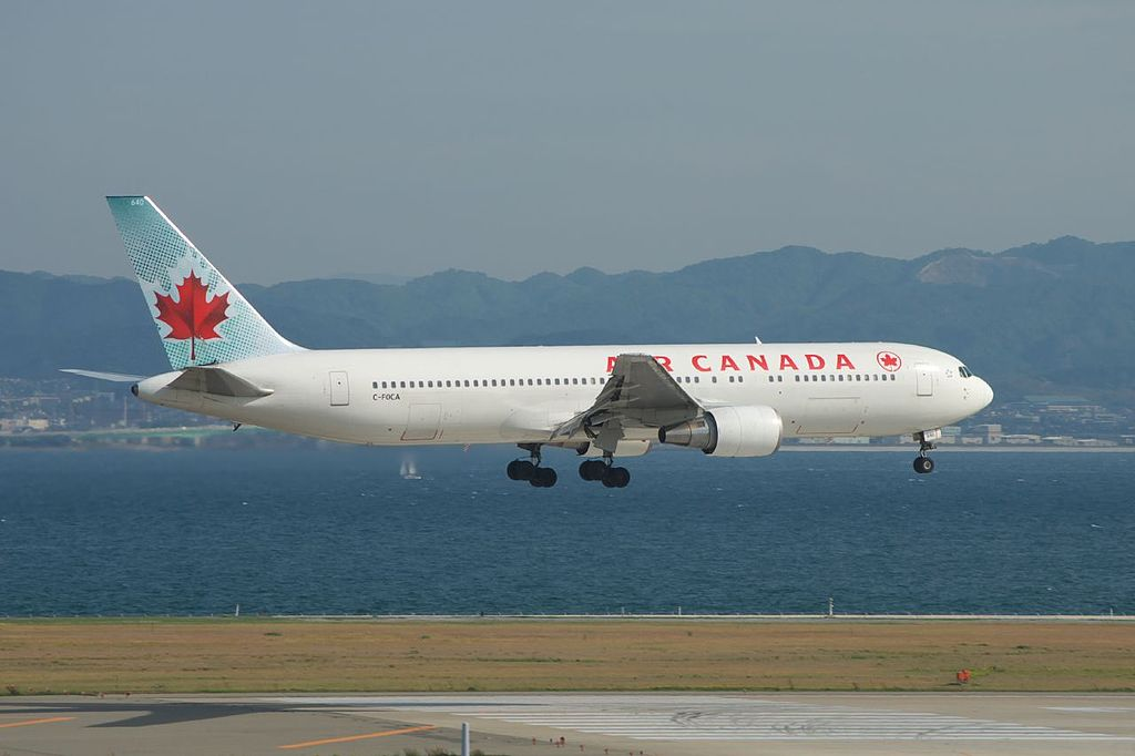 Air Canada ACA B767 375ER C FOCA lands to runway 24 of Kansai international airport KIXRJBB