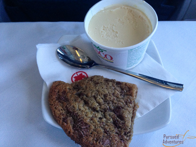 Air Canada Airbus A319 100 Business Class Cabin Inflight Meal Dinner Services Dessert Menu @Pursued Adventures