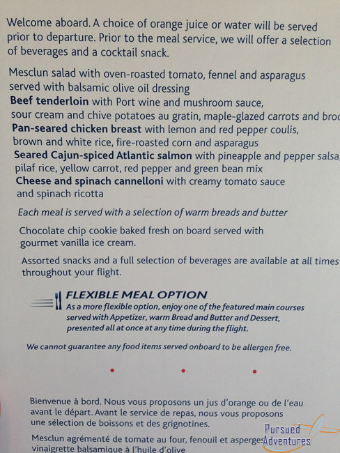 Air Canada Airbus A319 100 Business Class Cabin Inflight Meal Services Menu @Pursued Adventures