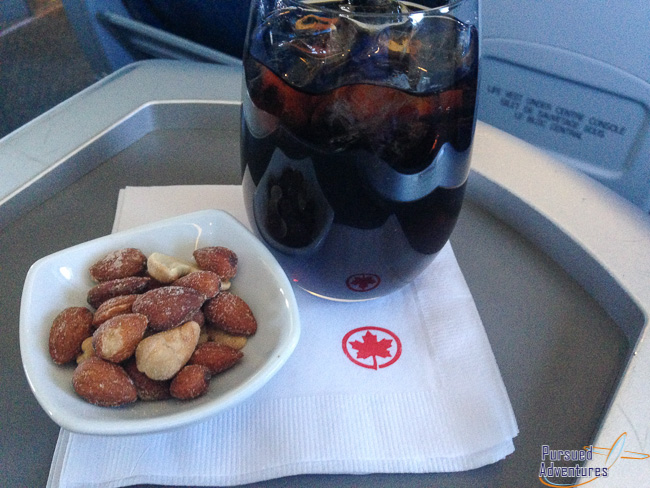Air Canada Airbus A319 100 Business Class Cabin Inflight Meal Services Snacks and Drinks @Pursued Adventures