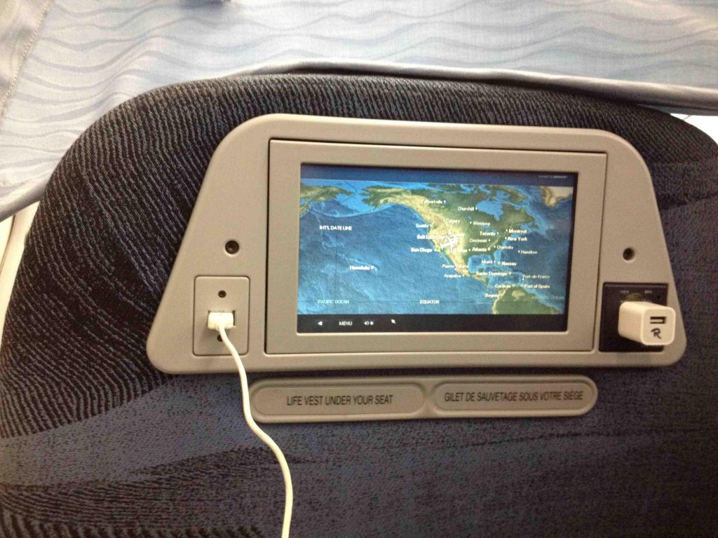 Air Canada Airbus A319 100 Cabin Preferred Seats Inflight Entertainment IFE System and amenities USB and AC Power Port