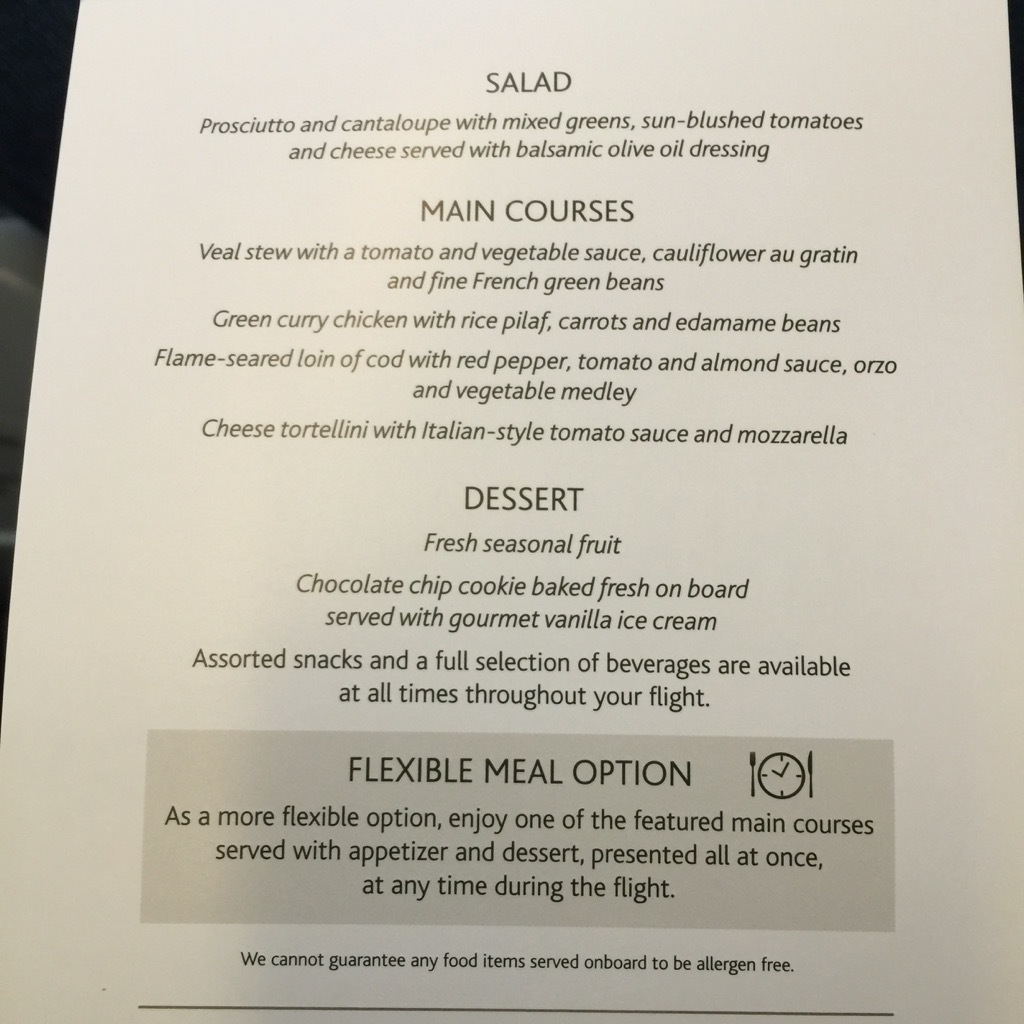Air Canada Airbus A321 200 Business Class cabin inflight meal food services menu