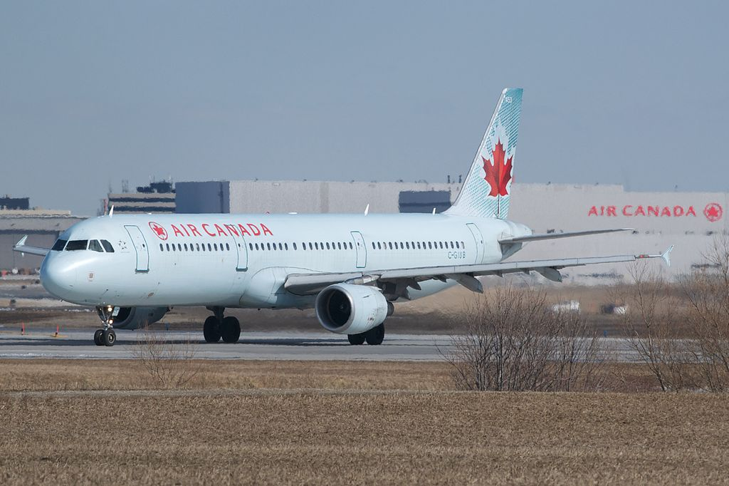 Air Canada Airbus A321 200 C GIUB taxiing at Toronto Pearson International Airport