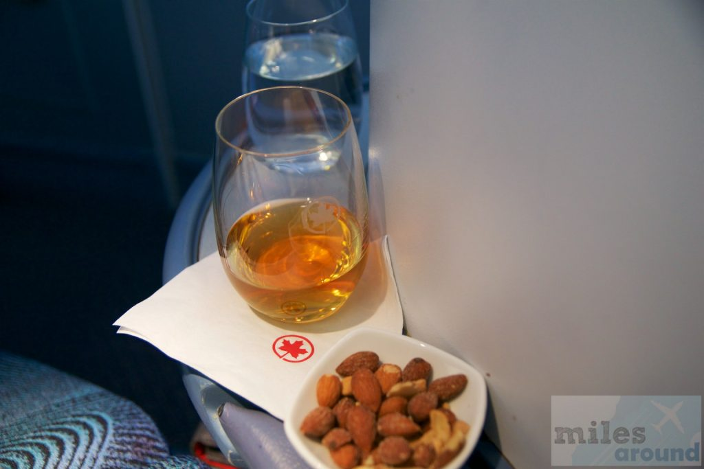 Air Canada Airbus A330 300 Business class cabin Welcome drink Johnnie Walker Black Label with a nut mixture @milesaround