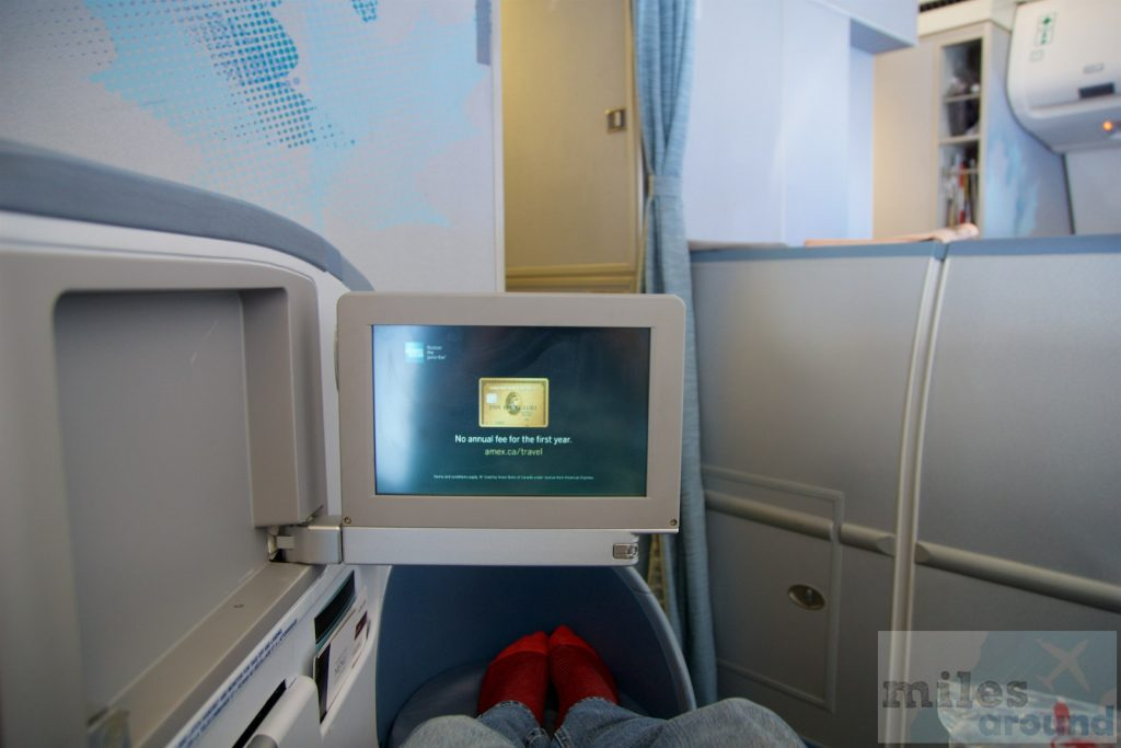 Air Canada Airbus A330 300 Business class cabin herringbone seats flat mode @milesaround