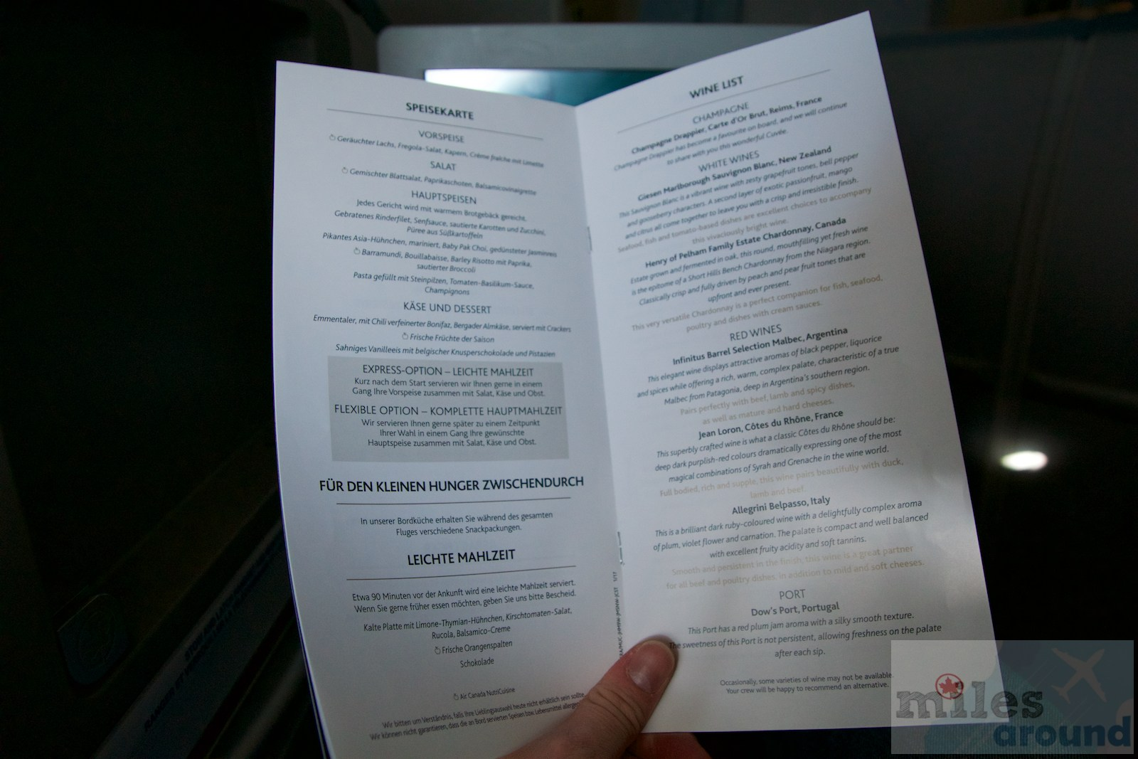 Air Canada Airbus A330 300 Business class cabin inflight meal food services menu @milesaround