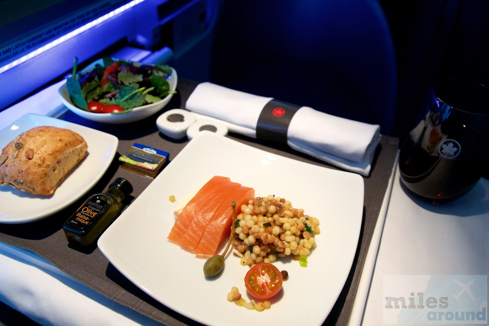 Air Canada Airbus A330 300 Business class inflight meal food Appetizer smoked salmon Fregola salad creme fraiche with lime