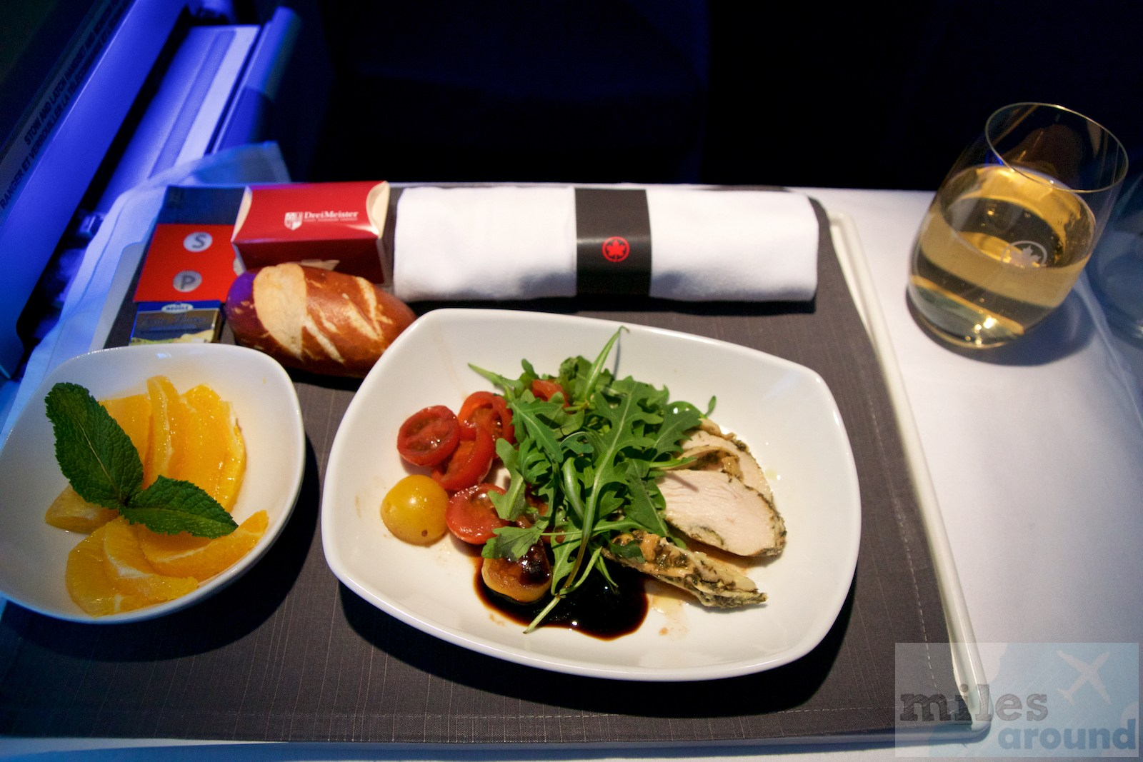 Air Canada Airbus A330 300 Business class inflight meal food Light meal cold plate with lemon and thyme chicken cherry tomato salad and arugula