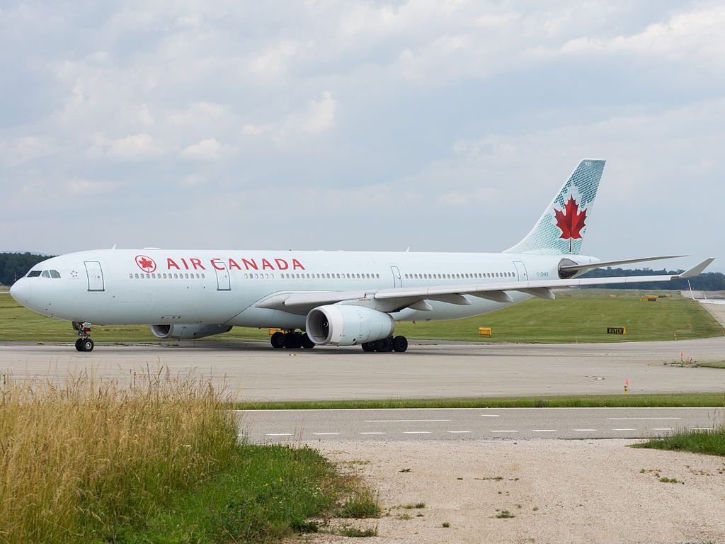 Air Canada Airbus A330 300 C GHKR taxiing at Geneva International Airport