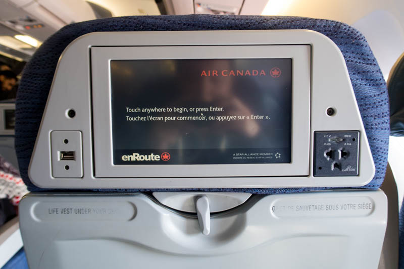 Air Canada Airbus A330 300 Economy class cabin Seat back with the IFE screen and power outlets