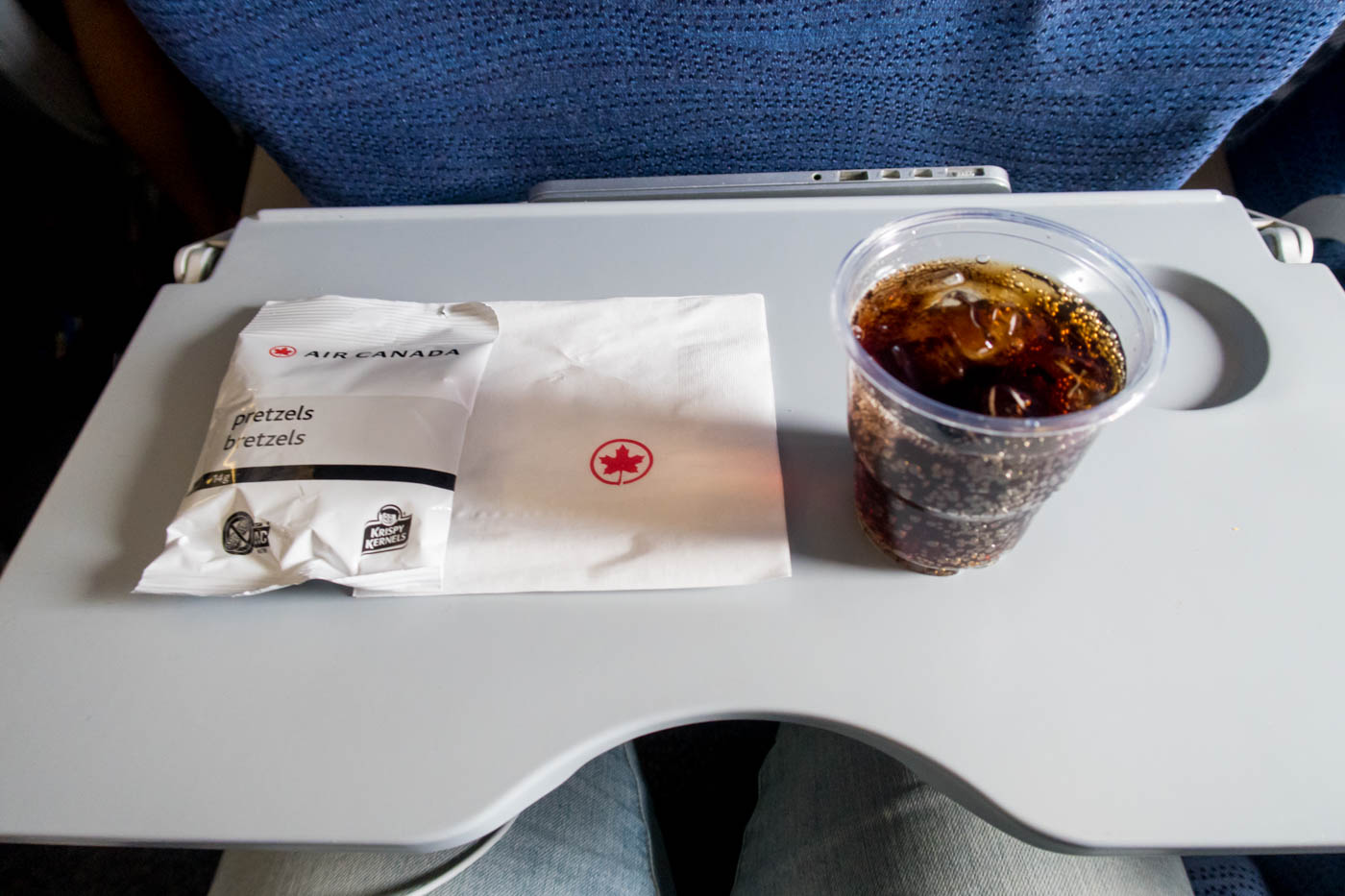 Air Canada Airbus A330 300 Short Haul Domestic Economy Class Service inflight free drink and pretzels