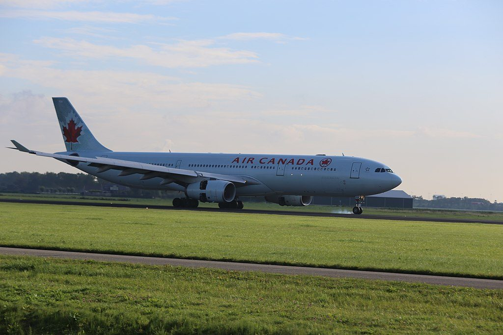 Air Canada Airbus A330 343 C GFUR landing at Amsterdam Airport Schiphol