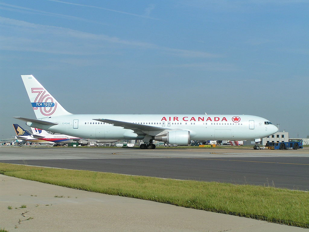 Air Canada Aircraft Fleet Boeing 767 375ER C FCAE on special tail scheme 70 years TCA at London Heathrow Airport