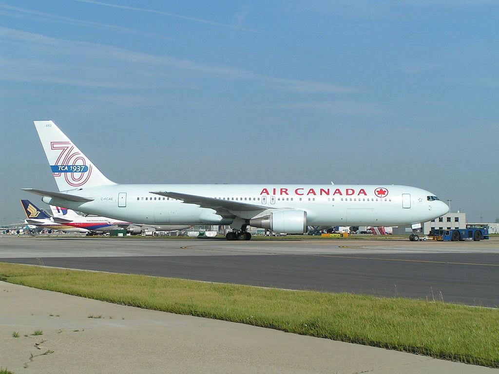 Air Canada Aircraft Fleet Boeing 767 375ER C FCAE on special tail scheme 70 years TCA at London Heathrow Airport