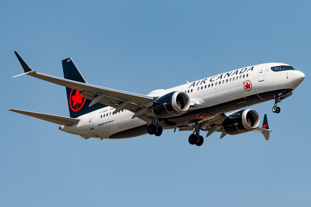 Air Canada Boeing 737 MAX 8 C FSDB landing in Calgary Alberta Canada