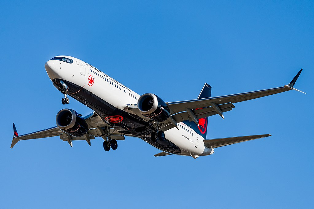 Air Canada Boeing 737 MAX 8 C FSDW on final approach before landing in Calgary Alberta Canada