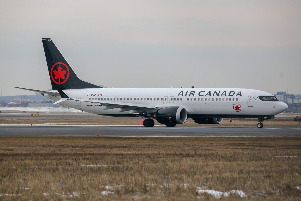 Air Canada Boeing 737 Max 8 C FSDQ Taxing to runway 23 for departure to Calgary YYC YYZCYYZ