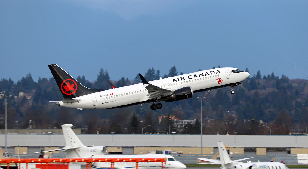 Air Canada Boeing 737 Max 8 C FSDQ departure at YVR for YYZ