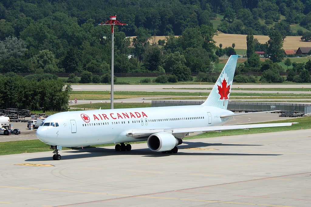Air Canada Boeing 767 300ER C FPCA taxiing at Zurich International Airport