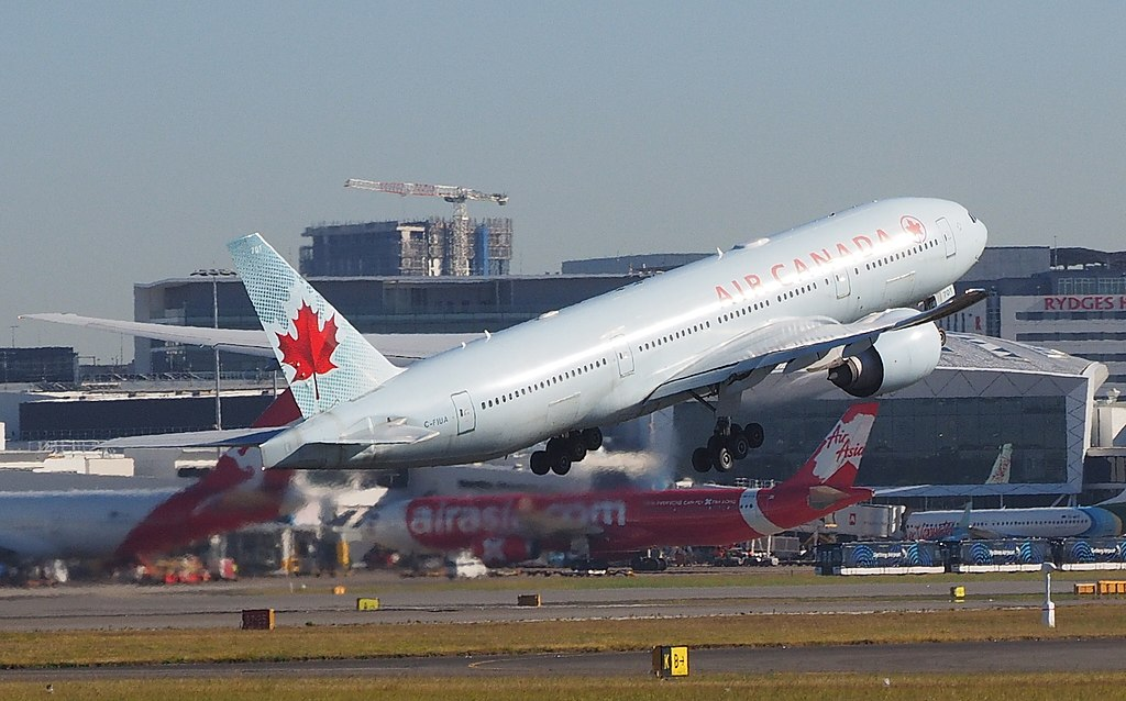 Air Canada Boeing 777 200LR C FIUA taking off from Sydney bound for Vancouver