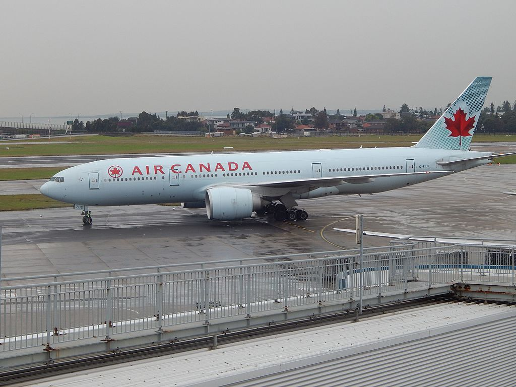 Air Canada Boeing 777 200LR C FIUF Pushed back for the long flight to YVR at Sydney Airport Australia