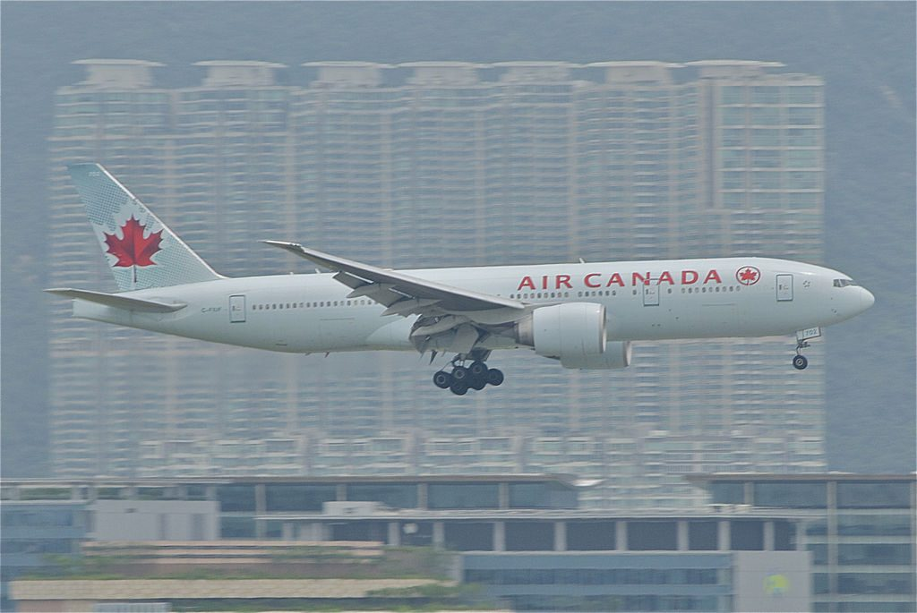 Air Canada Boeing 777 200LR C FIUF on final approach at Hong Kong International Airport
