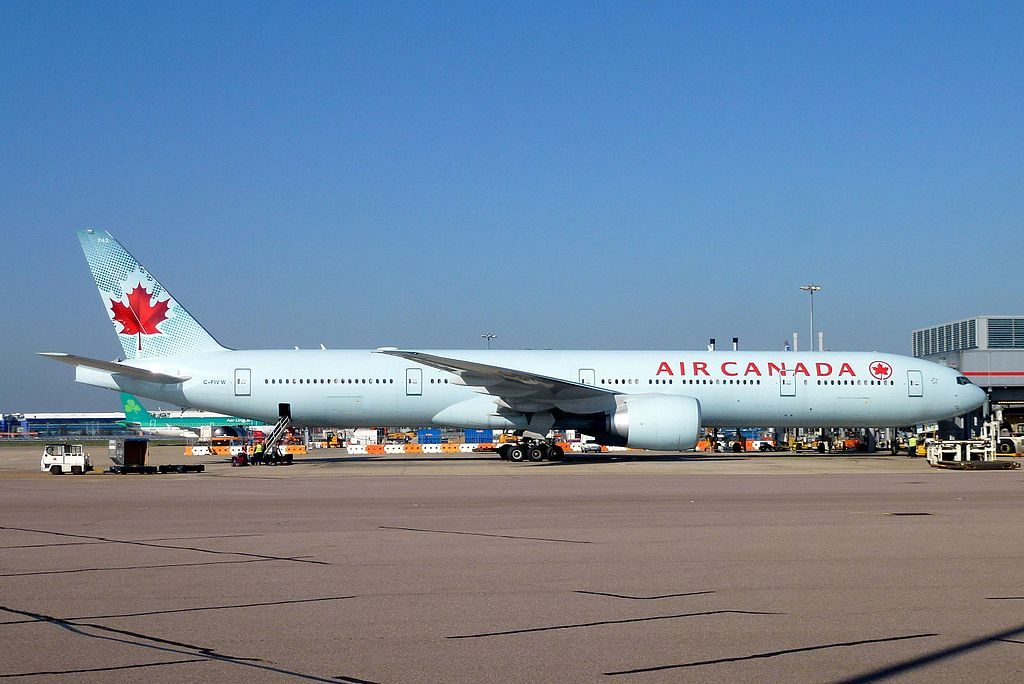 Air Canada Boeing 777 333ER C FIVW on std 342 at LHR Airport
