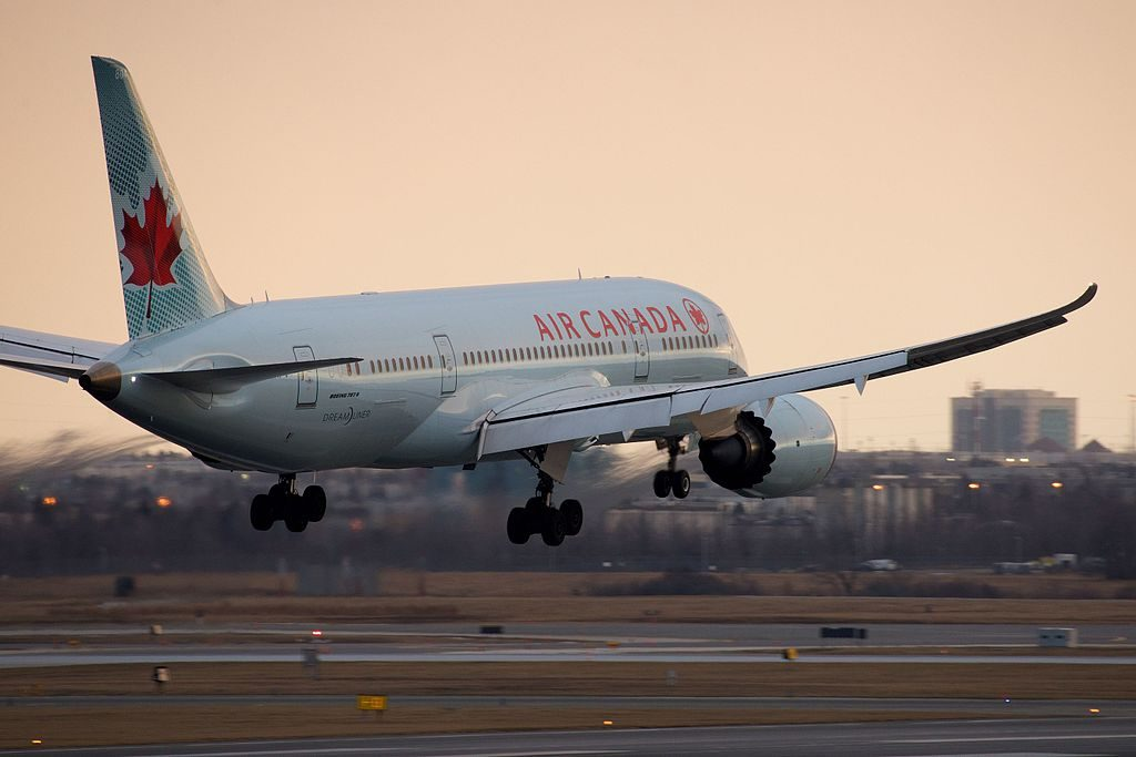 Air Canada Boeing 787 8 Dreamliner C GHPV touch down on 23 at Toronto Pearson International Airport