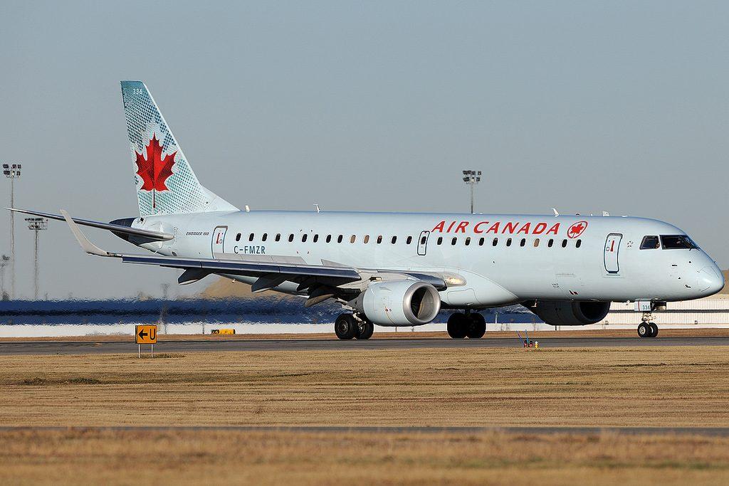 Air Canada C FMZR Embraer E190 at Calgary Airport