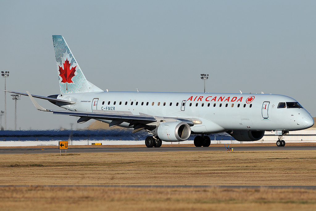 Air Canada C FMZR Embraer E190 at Calgary Airport