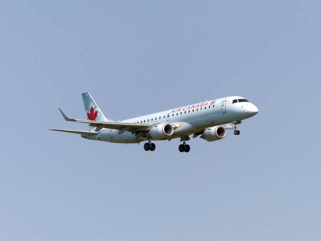 Air Canada C FNAI Embraer EMB190 on final approach at Ottawa Airport