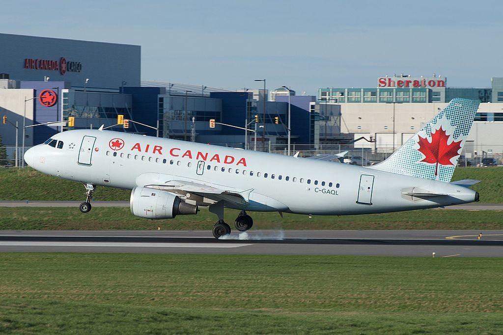 Air Canada C GAQL Airbus A319 114 hard landing at Toronto Pearson International Airport