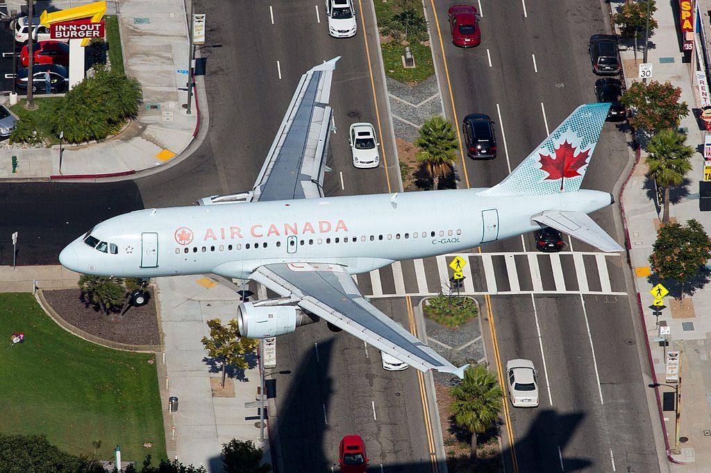 Air Canada C GAQL Airbus A319 114 on final approach to LAX