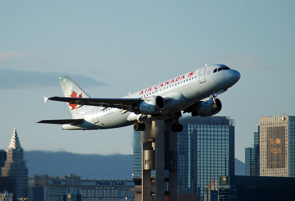 Air Canada C GAQX Airbus A319 114 cnserial number 736 departing McCarran International Airport