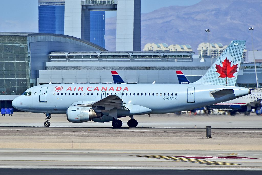 Air Canada C GAQX Airbus A319 114 cnserial number 736 taxiing at McCarran International Airport