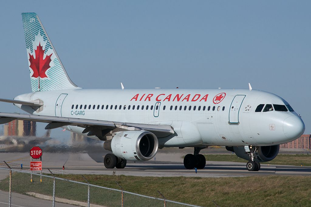 Air Canada C GARG Airbus A319 114 cnserial number 742 ready to takeoff at Toronto Pearson International Airport