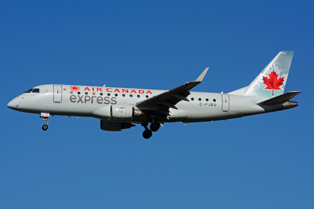 Air Canada Express C FJBO operated by Sky Regional Airlines Embraer E175 on final approach at Toronto Lester B. Pearson Airport YYZ