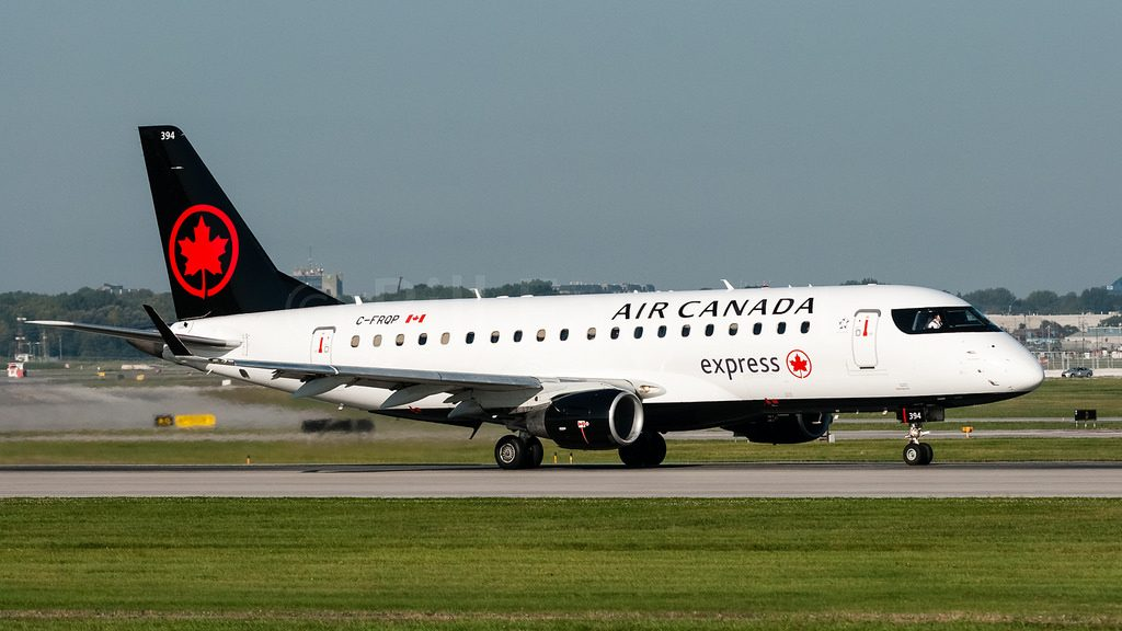 Air Canada Express C FRQP operated by Sky Regional Airlines Embraer E175 at Montréal–Pierre Elliott Trudeau International Airport