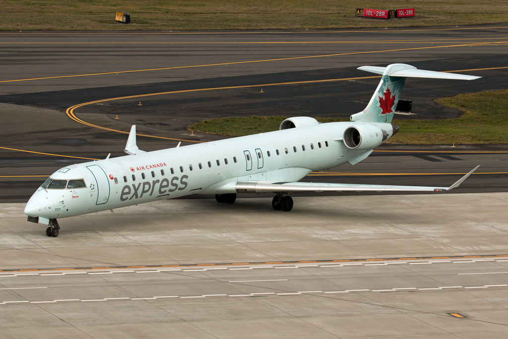 Air Canada Express C GJAZ operated by Jazz Bombardier CRJ900 at Portland International Airport KPDX