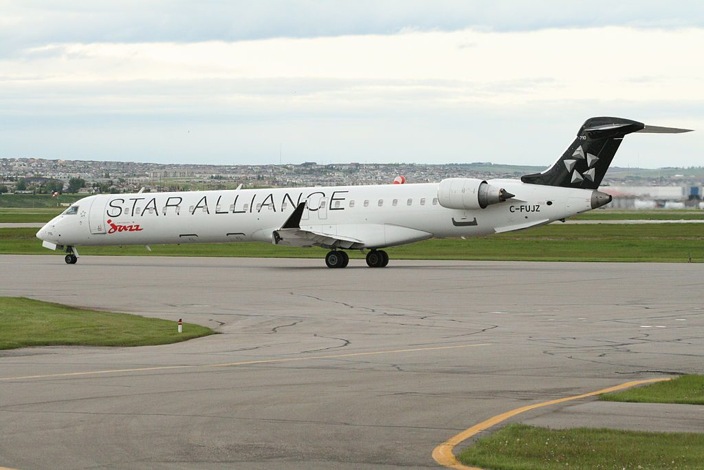 Air Canada Express Jazz on Star Alliance Livery Bombardier CRJ900 C FUJZ at Calgary International Airport